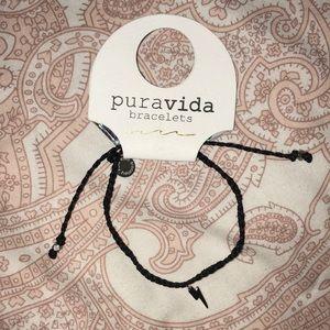 Black braided Pura Vida lightning charm bracelet